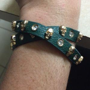 Gold & Green Skull Wrap Bracelet